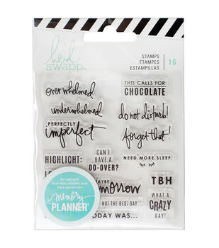 Heidi Swapp Memory Planner 16 Pack 3.5''x3.5'' Clear Stamps-Day