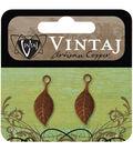 Vintaj Metal Accent 2/Pkg-Spring Green Leaf 22.5x9mm