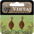 Vintaj Metal Accent 2/Pkg-Spring Green Leaf 22.5x9mm