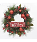 Blooming Holiday 24\u0027\u0027 Pine & Berry Wreath with Happy Holidays Sign
