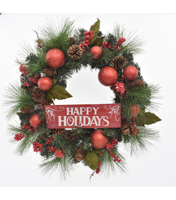 Blooming Holiday 24'' Pine & Berry Wreath with Happy Holidays Sign