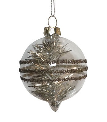 Maker's Holiday Christmas Arctic Frost Tinsel Filled Bulb Ornament