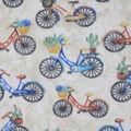 Anti-Pill Plush Fleece Fabric-Vintage Bicycle Floral