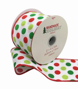 Handmade Holiday Christmas Ribbon 2.5''x25'-Red & Lime Green Polka Dots