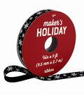 Maker\u0027s Holiday Woodland Lodge Ribbon 3/8\u0027\u0027x9\u0027-Snowflakes on Black