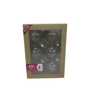 Maker's Holiday Craft 6pc Glass 70mm Ornaments-Clear