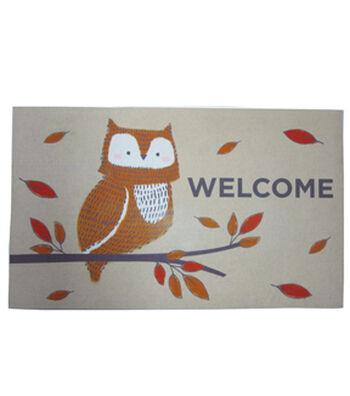 Simply Autumn Door Mat-Owl & Welcome