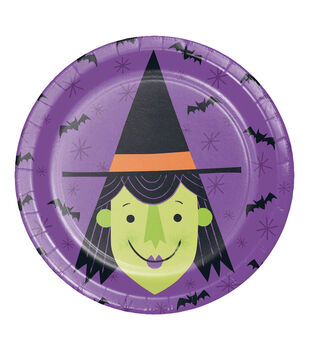 Maker's Halloween 8 pk 6.88'' Lunch Plates-Witch