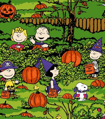 "Peanuts Halloween Cotton Fabric 43""-Spooky Night"