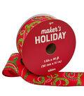 Maker\u0027s Holiday Christmas Ribbon 1.5\u0027\u0027x30\u0027-Glitter Swirls on Red