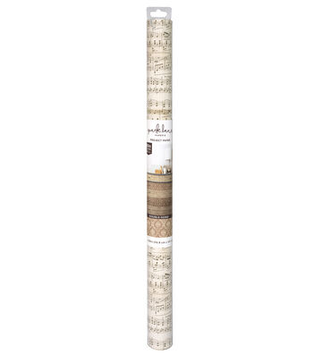 Park Lane 22''x50'' Double-sided Paper Roll-Tan Damask & Music