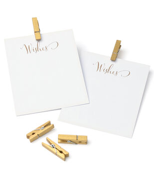 Save the Date Tags & Clothespins-Gold Wishes
