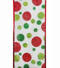 Maker\u0027s Holiday Ribbon 4\u0027\u0027x40\u0027-Red & Green Glitter Dots on White