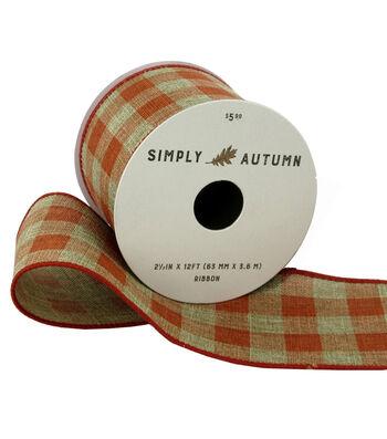 Simply Autumn Ribbon 2.5''x12'-Natural & Orange Plaid