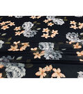 Modern Vintage Chiffon Fabric 57\u0027\u0027-Ivory & Peach Floral on Black