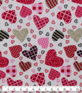 Valentine\u0027s Day Cotton Fabric-Tossed Patterned Hearts Glitter