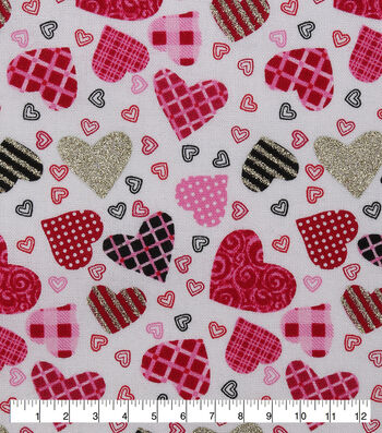 Valentine's Day Cotton Fabric-Tossed Patterned Hearts Glitter