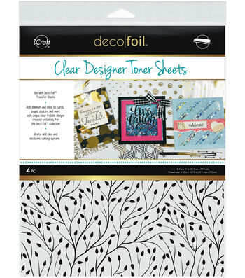 Deco Foil 4 pk 8.5''x11'' Clear Designer Toner Sheets-Branching Out