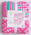 No Sew Fleece Throw Kit 48\u0027\u0027-Pink Geometric Patch