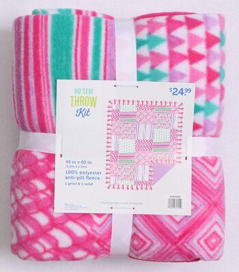No Sew Fleece Throw Kit 48''-Pink Geometric Patch