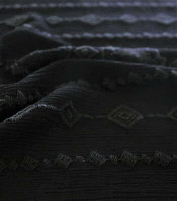 Silky Crinkle Embroidered Apparel Fabric 45''-Black