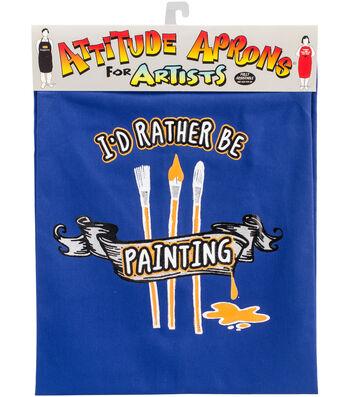 Attitude Artist Apron Blue-I'd Rather Be Painting