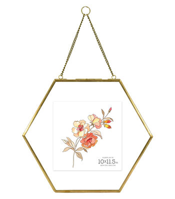 Brass Hexagonal 10x10 Hanging Pressed Glass Float Picture Frame