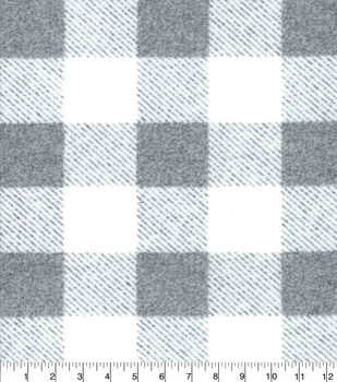 Flannel Fabric-Gray & White Buffalo Checks