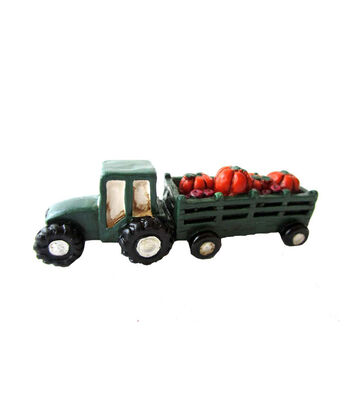 Simply Autumn Littles Green Tractor with Pumpkins