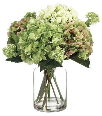 Bloom Room Luxe 19'' Hydrangea Snowball In Glass-Green