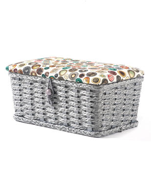 Extra Small Rectangle Sewing Basket-Buttons