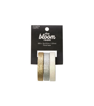 Panacea Products Glitter Floral Tapes 0.5''x30'-Gold, Silver & Pearl