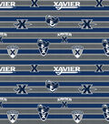 Xavier University Musketeers Cotton Fabric-Polo Stripes