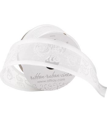 "Offray 1.5""x9' Swirl Heart Sheer Wired Edge Ribbon-White"