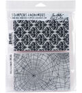 Stampers Anonymous Tim Holtz 2 pk Cling Stamps-Skulls & Cobwebs