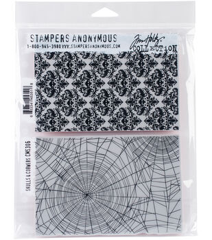 Stampers Anonymous Tim Holtz 2 Pk Cling Stamps Skulls Cobwebs