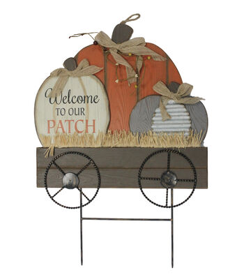 Simply Autumn Pumpkin Wagon Yard Stake-Welcome to our Patch