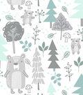 Nursery Cotton Fabric-Woods White Bear