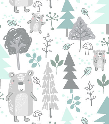 Nursery Cotton Fabric-Woods White Bear