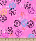 I Love Soccer Print Fabric