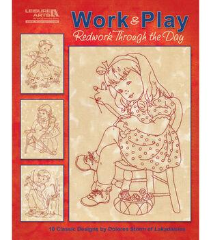 Leisure Arts Work & Play, Redwork Through The Day