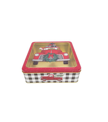 Maker's Holiday Large Square Cookie Container with Clear Top-Truck