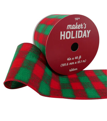 Maker's Holiday Christmas Flannel Ribbon 4''x40'-Red & Green