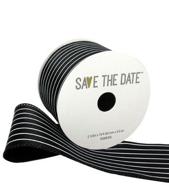 "Save the Date 2.5"" x 15ft Ribbon-Black White Stripe"