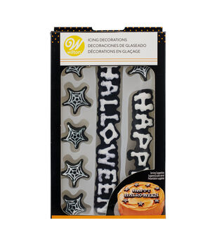 Wilton Icing Decorations-Happy Halloween Words & Webs