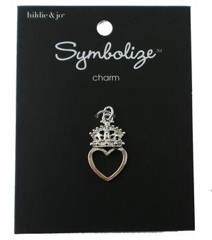 hildie & jo Symbolize 0.75''x0.75'' Heart & Crown Silver Charm