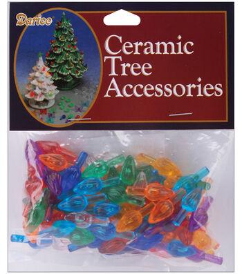 "Ceramic Christmas Tree Bulbs .625"" 100/Pkg-Flame - Multicolor"
