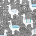 Super Snuggle Flannel Fabric-Textured Llama on Gray