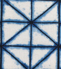 Silky Crinkle Rayon Fabric-White Blue Triangle Grid