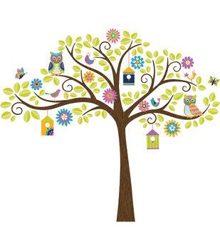 dee16d79ea68 Wall Pops Owl Tree Wall Art Decal Kit, 142 Piece Set